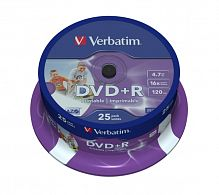 DVD+R Verbatim 4.7Gb 16x Wide Photo Inkjet Printable Cake Box 25шт 43539