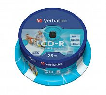 CD-R Verbatim 700Mb 52x AZO Wide Inkjet Printable (118/23мм) Cake Box 25шт 43439