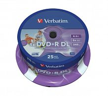 DVD+R Verbatim 8.5Gb 8x Double Layer Inkjet Printable Cake Box 25шт 43667